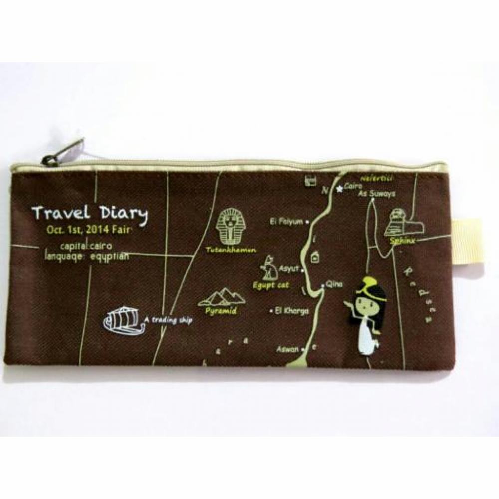 Pencil Case: Travel Zip (Dark Brown) - Tempat Pensil