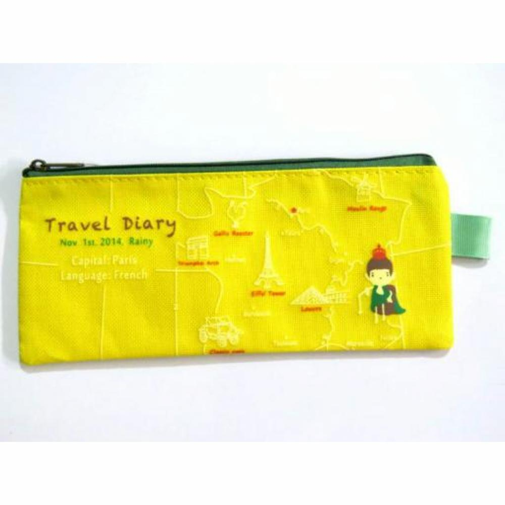 Pencil Case: Travel Zip (Yellow) - Tempat Pensil