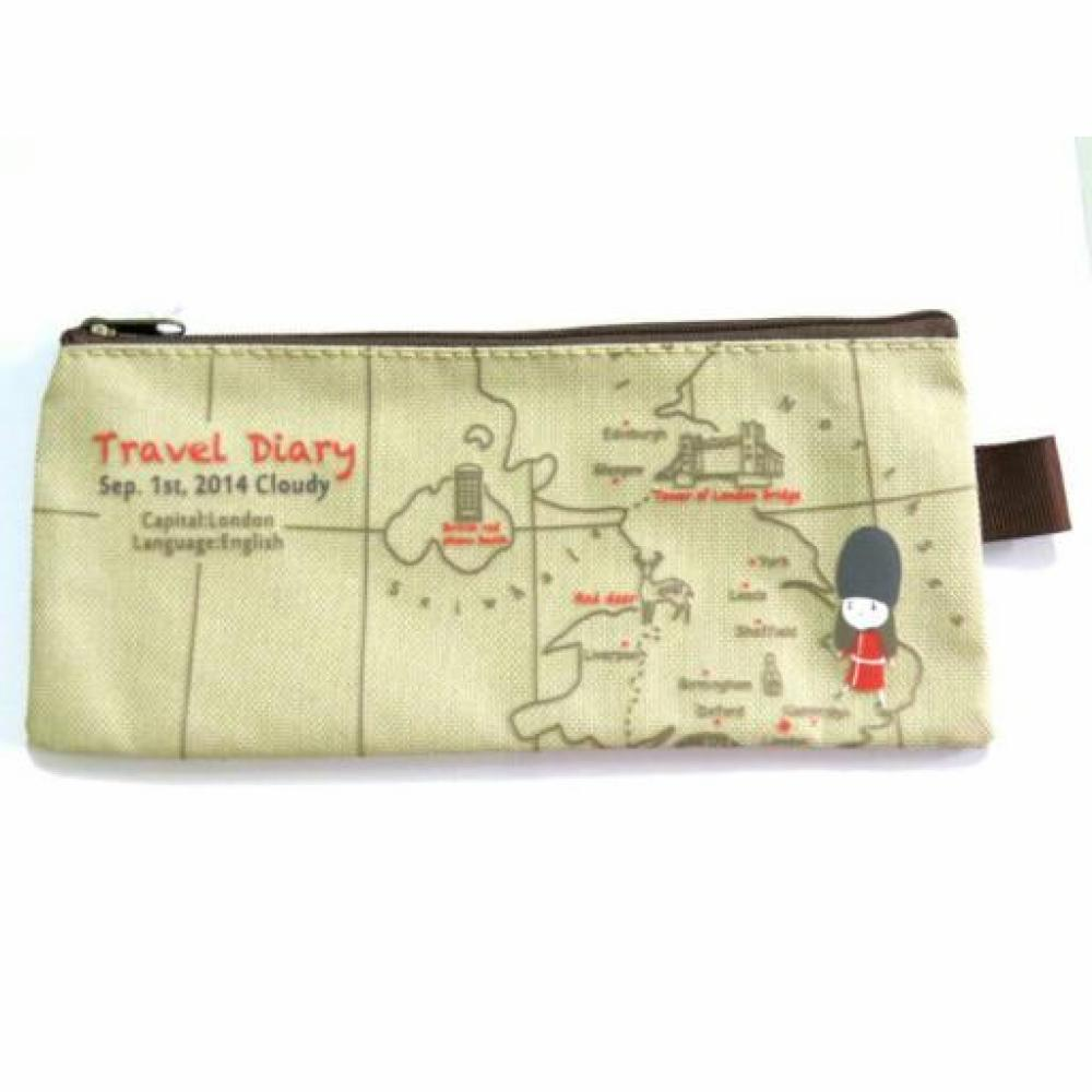 Pencil Case: Travel Zip (Soft Brown) - Tempat Pensil