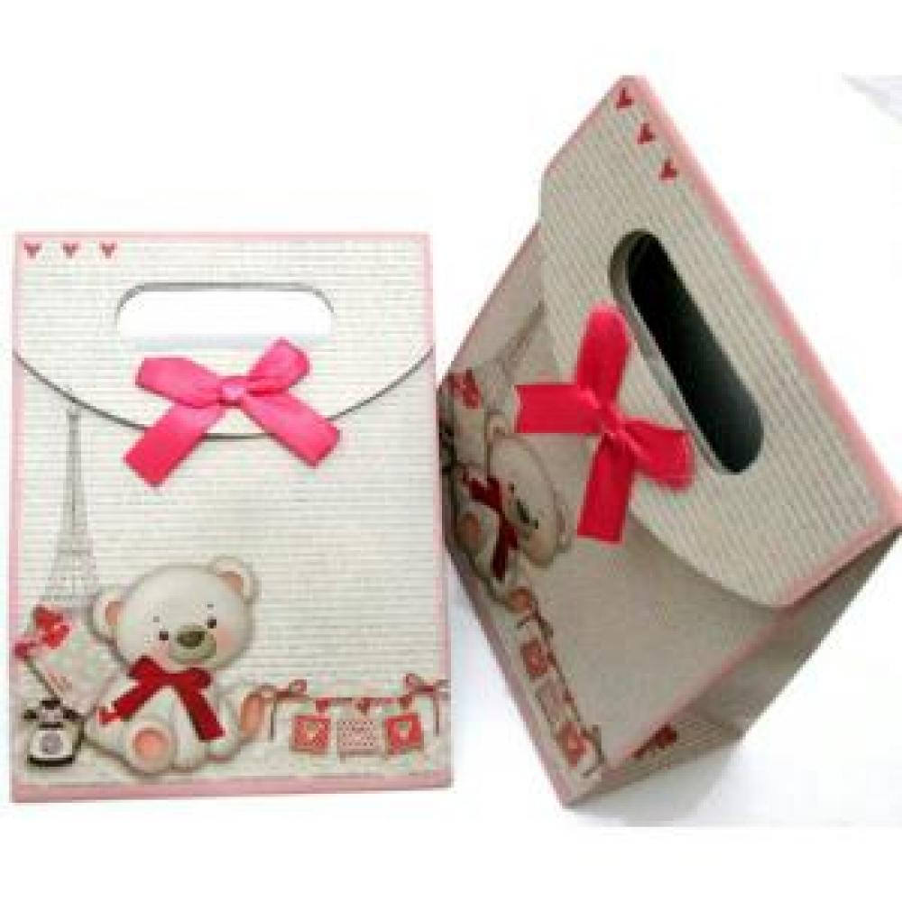 Ribbon Paper Bag: Bear (Small) - Tas Kertas