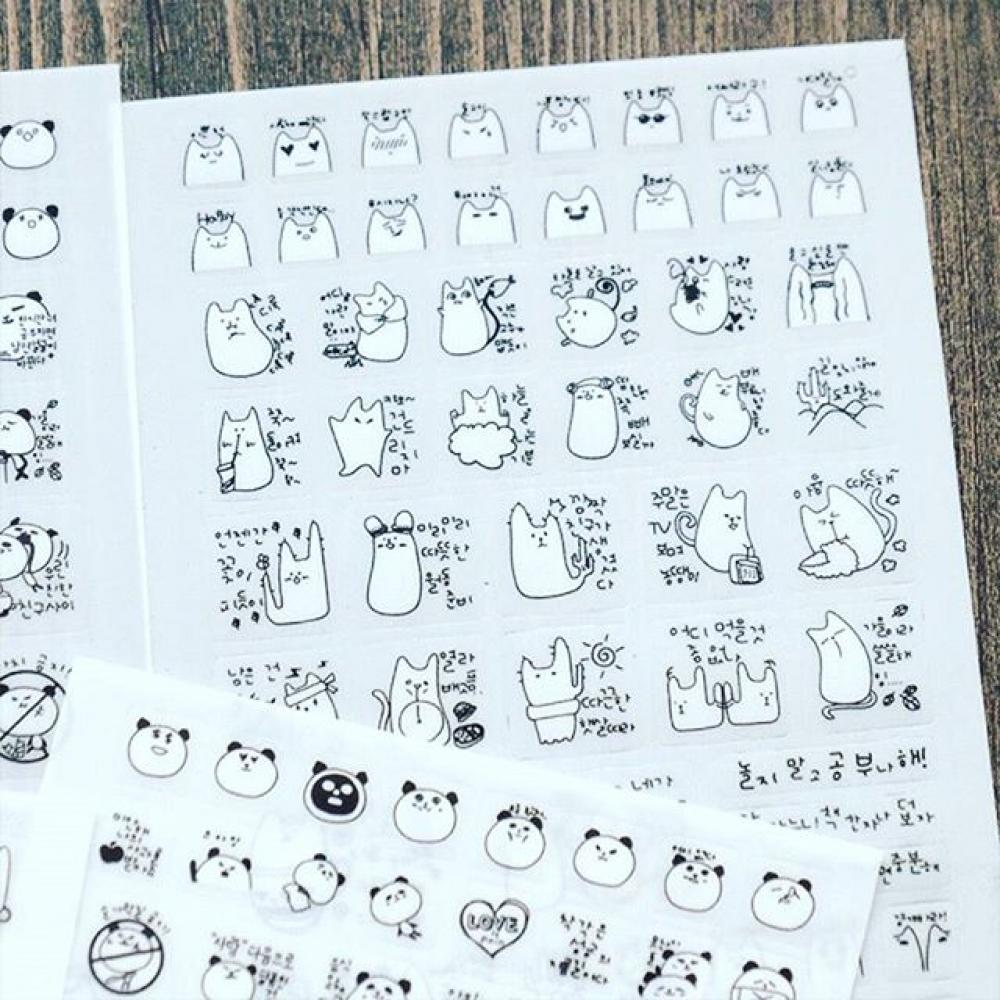 Panda and Cat Diary Deco Sticker