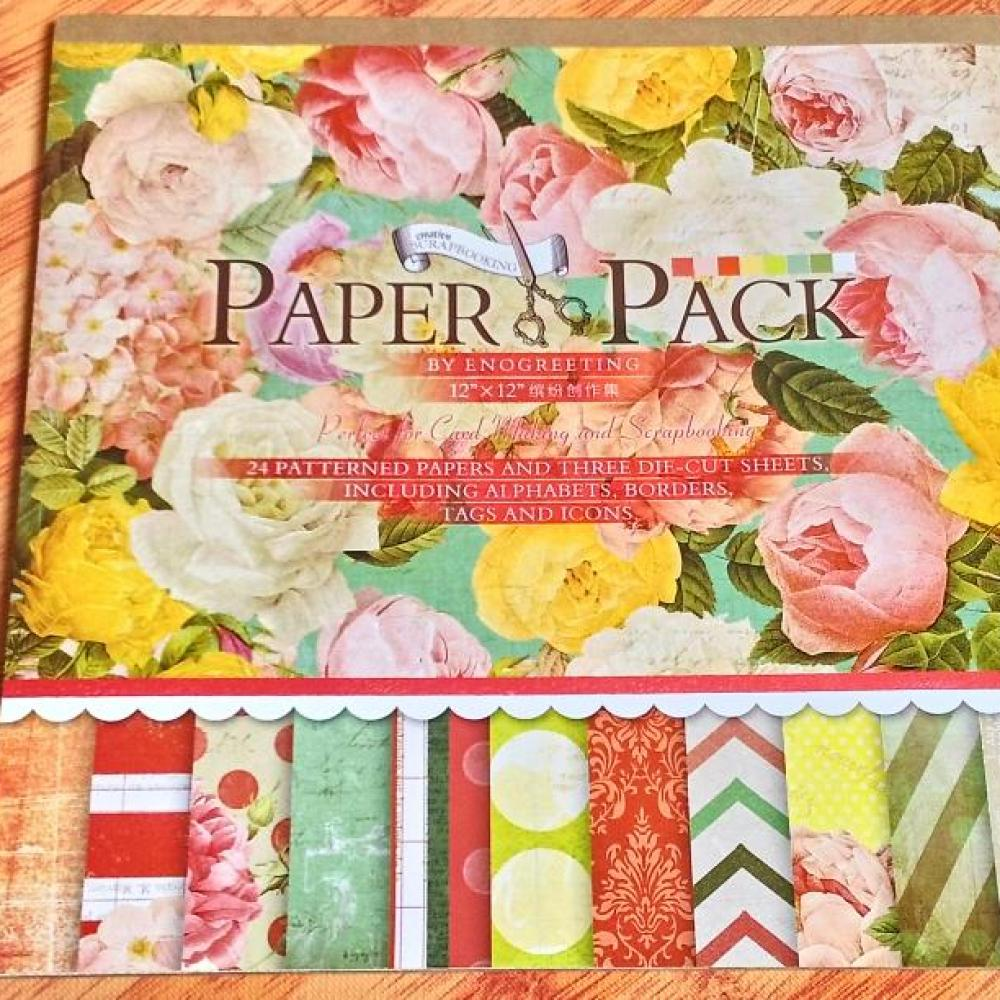 Scrapbook Paper Pack Flowers (Red)