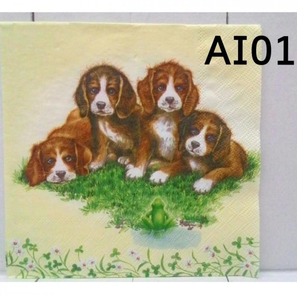 Napkin Decoupage/Tissue Paper Motif Dog Family