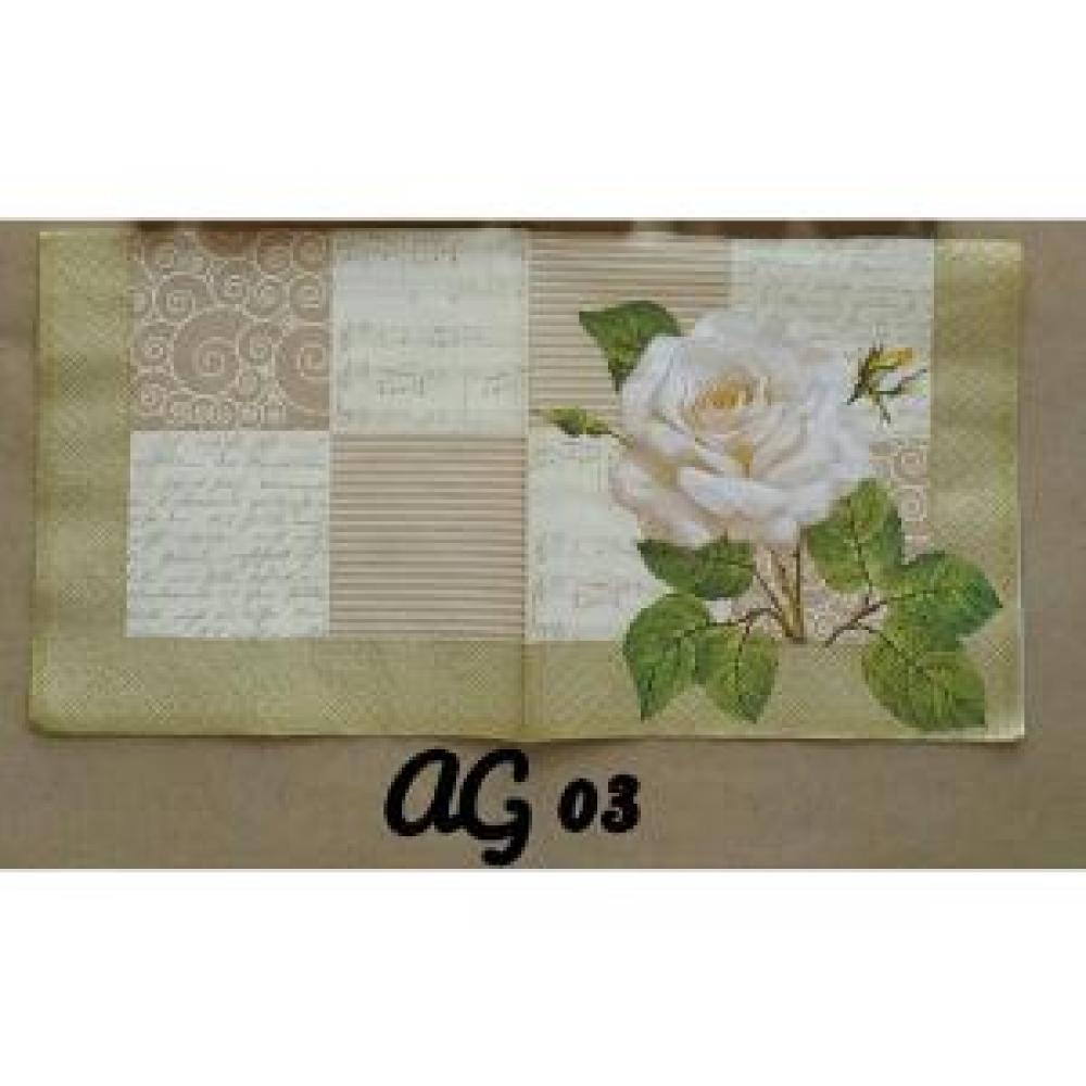 Napkin Decoupage/Tissue Paper Motif White Flower